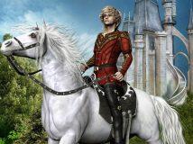 Baniowy ksi na koniu na tle zamku
